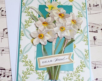 Card for Friends, Friendship Card, Thinking of You Card, Daffodil Card, Blank Card, Blank Greeting Card, Flower Card, Any Occasion Card