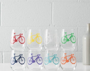 Bicycle WINE Glasses SINGLE screen printed bike stemless wine glasses