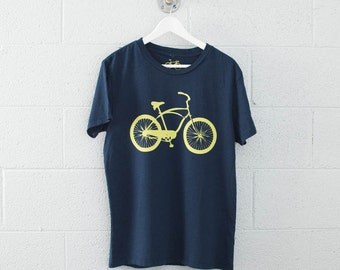 Cruiser Men's MEDIUM Bike Tee, Lemon yellow on midnight blue