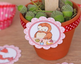 Woodland Party - Cupcake Toppers, Tags or Stickers - Tea Party with Fox, Owl, Badger & Rabbit