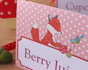 Food Signs - Woodland Party - Forest Friends Tea Party with Fox, Rabbit, Owl and Badger
