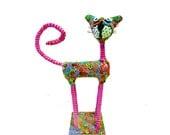 Cat sculpture /home decoration/ home design / Art / Animal Sculpture / Metal base /Handmade/ Polymer Clay/ Cat figure