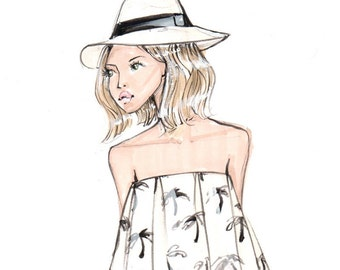Fashion Illustration-Lauren-Palm Print-Fashion Print-Palm Print Illustration-Palm Drawing-Brooke Hagel-Brooklit-Black and white-Sketch