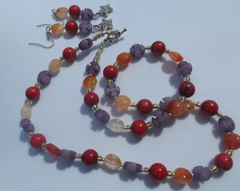 Carnielian Jasper Buri Seed necklace with matching earrings great for fall