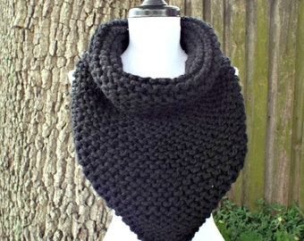 Womens Oversized Bandana Knit Cowl Scarf - Black Scarf Black Cowl Womens Accessories Fall Fashion Winter Scarf
