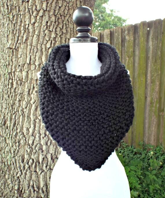 Free Knitting Patterns For Beginners Baby Blanket : Womens Oversized Bandana Knit Cowl Scarf Black Scarf Black