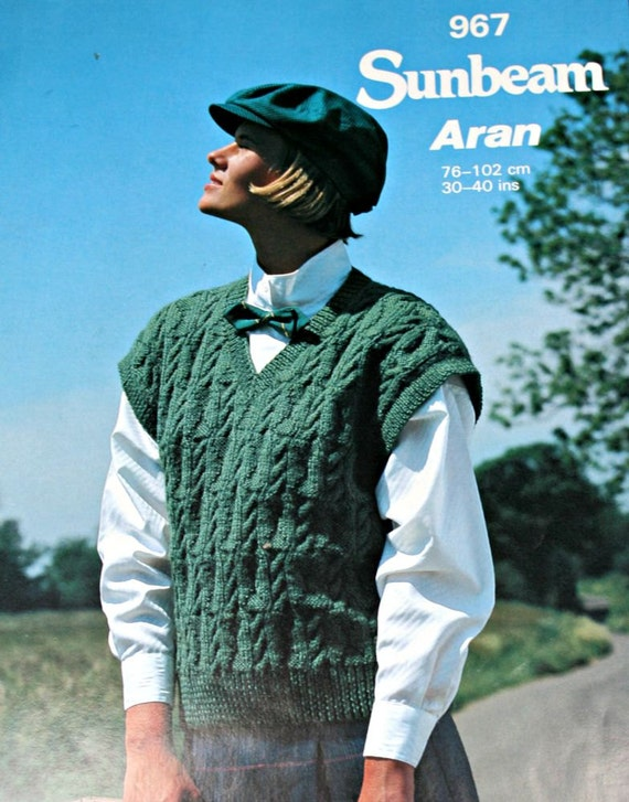 Aran Vest Knitting Pattern : Aran Vest Knitting Pattern 3 Sizes 30 40 inches 76 102 cm