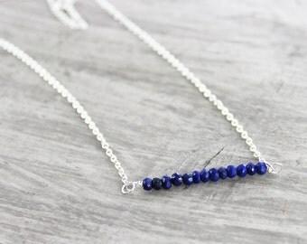 Blue Gemstone Necklace, Gemstone Bar Necklace, Dark Blue Necklace, Lapis Lazuli Necklace, Sterling Silver Necklace, Simple Delicate Necklace