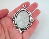 Silver Plated Oval 30x40mm Bezel Pendant Setting