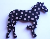 """domino-the folk art horse, painted with acrylics, black base color, ready to hang, 5-1/2"""" wide x 6-1/4"""" long, 1/4"""" thick"""