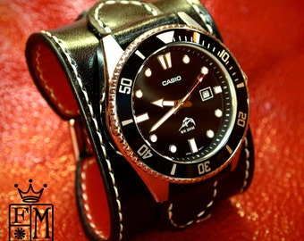 """Leather cuff watch Casio diver watch 2"""" wide Black leather- Red calf lined Custom made for YOU in NYC by Freddie Matara"""