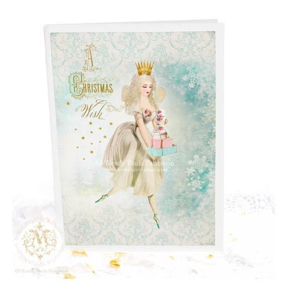Fairy, Christmas card, ballerina, holiday card, sugar plum fairy, snowflakes, winter, gold stars, blue, white