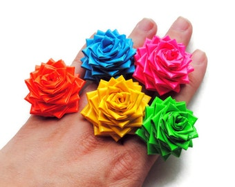 Duct Tape Flower Ring - Neon Colors