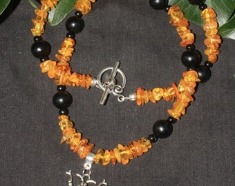 Melissa Bee Goddess - Baltic Amber and Jet Necklace for Witches, Pagans and Wiccans - Magic, Ritual, OOAK