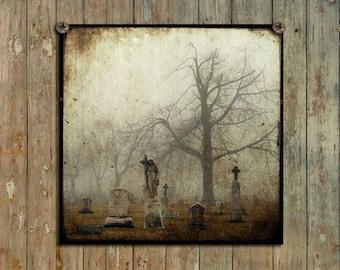 Fog Cemetery,  Dark, Gothic Art,  Foggy, Goth Print, Aged Art, Eerie, Graveyard Art - Stone Lady