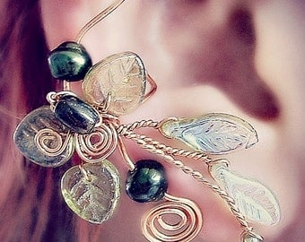 Ear Cuff Lothlorien Spring Forest Elven Ear Wrap, No Piercing, Fantasy Fairy Jewelry, Gift Idea, bridal ear cuff