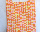 tangerine dot eco market tote, reusable shopping bag in orange and pink