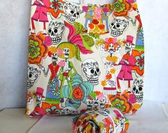sugar skull eco market tote, reusable fabric shopping bag in dancing dia de los muertos print