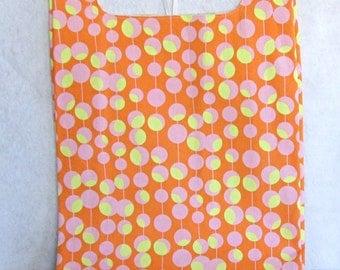 tangerine dot eco market tote, reusable shopping bag in orange and pink