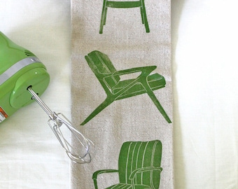 Midcentury Chairs Block Printed Flour Sack- 100% cotton kitchen towel