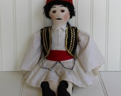 Greek Doll in Traditional Costume - Male in Uniform - Large Soft Sculpture Doll - Red Black White - Soldier - Double Pleated Skirt