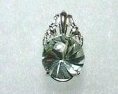 12mm Prasiolite Green Amethyst Gemstone in 925 Sterling Silver Pendant Necklace
