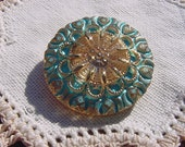 Turquoise Golden Lace Czech Glass Button