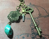 Watchkey, skeleton key, turquoise necklace