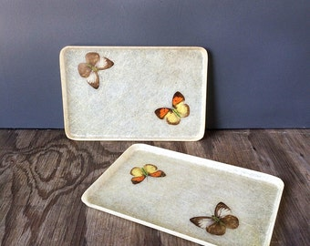Made in Japan Cream and Gold Trays with Orange and Yellow Butterflies - Set of 2 Small FiberglassTrays