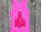 Ganesha batik yoga  ribbed tank tops and tees women hand drawn hand painted & hand dyed - yoga clothes -
