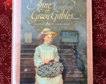 Anne of Green Gables by L.M. Montgomery, illustrated by Lauren Mills, Vintage Hardcover Book, 1989 First Edition