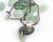 On reserve for Sarah's husband! ---  Sterling Silver Kinetic Lake Erie Beach Stone Beach Glass Necklace - Fidget