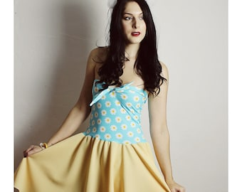 DAISY Dress, Yellow 90s Dress, Daisy Flower Dress, Handmade dress, Teal Yellow dress, BOW Dress