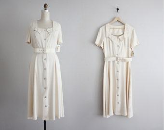 cream dress / soutache collared dress / 90s dress