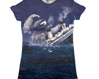 Sloth tshirt, Slothzilla, Titanic, Sloth tee, Printed in USA, Available S M L XL 2XL
