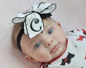 Monogram Initial, Hair Bow, Crochet Trim, Grosgrain Ribbon, Tied Hairbow, Girls White Formal, Lettering Gift, Personalized Baby, Toddler