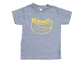 Bananas!! TriBlend Heather Grey TShirt with Yellow Print - Infant and Toddler Sizes, Funny Text Tee, Baby Shower Gift