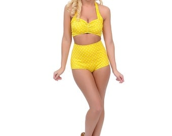 SALE Yellow & White polka dot Retro Pin up High waist bikini Two piece swimsuit size xs-xl