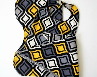 Modern Mod Print Yellow Gray Black Bib Burp Cloth Bandana Baby Shower Gift Set
