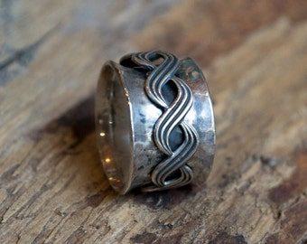 Silver wedding band, Celtic band, eternity ring, gypsy ring, Celtic braid spinner, wedding band, wide silver band - Nothing compares R1739B