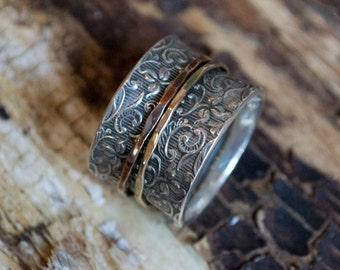 Wedding band, sterling silver ring, spinner ring, Wide ring, two tones ring, unisex band, meditation ring, floral - A way of life R1209A