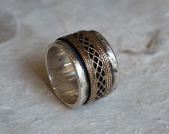 Bohemian jewelry, spinner ring, silver gold ring, gold spinner, wide unisex band, twotone band, gypsy ring, chunky silver band - Blink R2068