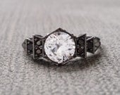 "Antique Black Diamond White Sapphire Engagement Ring White Gold Rhodium 1920s Grey Black Gemstone Rustic Bohemian PenelliBelle""The Florence"""