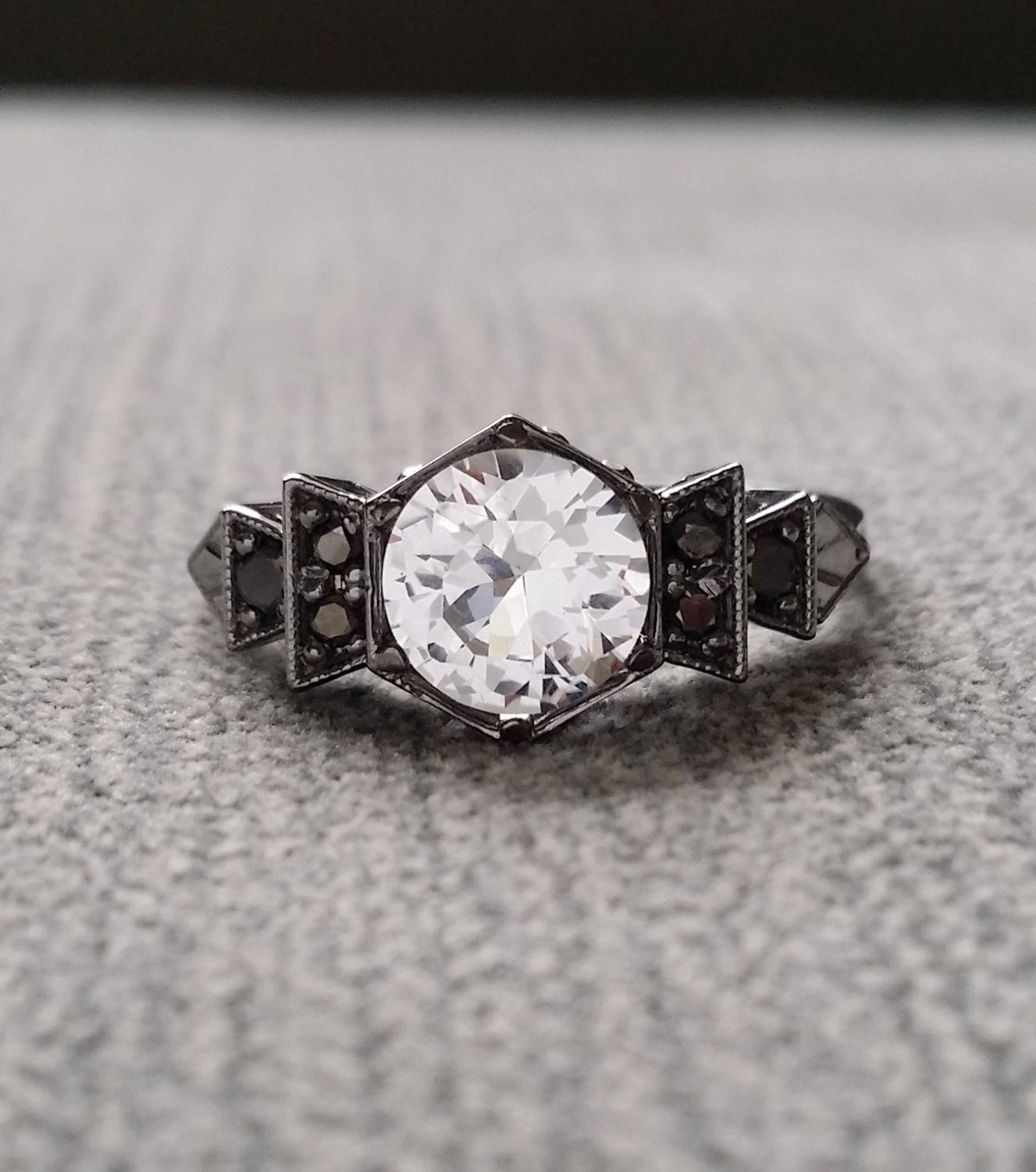 Antique Black Diamond White Sapphire Engagement Ring White