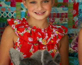 Sis Boom Cathy Dress/Top, Easy Ruffle Neck Dress or Top for Girls, PDF E-Book with Scientific Seamstress