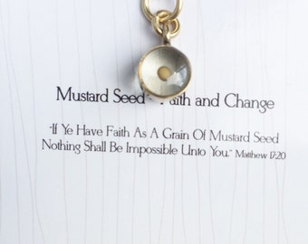 Inspirational Necklace / Faith of A Mustard Seed Charm / Symbolic Gift / Everyday Necklace / Faith Pendant / Religious Charm / Inspirational