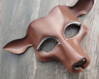 Woodland Deer Leather Mask - Gentle Doe in Soft Brown and Taupe - Animal Costume, Masquerade Mask, Deer Cosplay