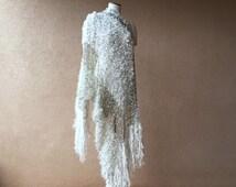 Ivory Wedding Wrap Wedding Accessories for 1920s Bridal or Winter Wedding, Ivory Wedding Shawl with Black, Silver Fringe Shawl Bridal Shawl