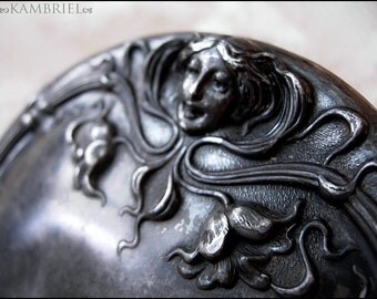 Mystical Art Nouveau Hand Mirror with Enchanting Woman Emerging from the Flowers