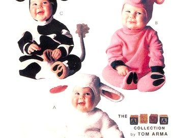 Cow Pig Lamb Toddler Halloween costume Adorable baby outfits sewing pattern McCalls P315 Tom Arma Costume pattern Sz half to 2 UNCUT